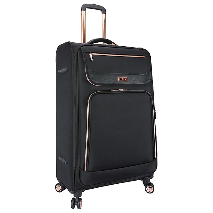 Alternate image 1 for Traveler's Club® Softside Expandable Spinner Checked Luggage in Black