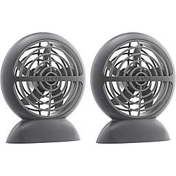 Treva® 2-Pack  Rechargeable USB Puck Fans in Grey
