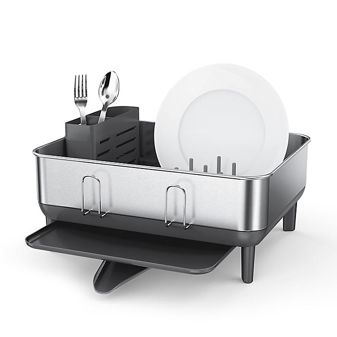 Alternate image 1 for simplehuman® Stainless Steel Frame Compact Dish Rack