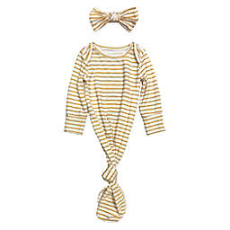 Toby Fairy™ Size 0-3M Striped Gown and Headband Set in Mustard