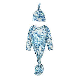 Toby Fairy™ Size 0-3M 2-Piece Tie-Dye Gown and Hat Set in Dove Blue