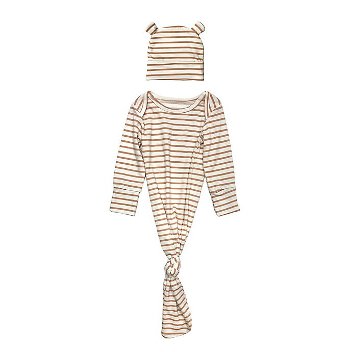 Alternate image 1 for Toby Fairy™ Size 0-3M 2-Piece Striped Gown and Bear Hat Set in Brown