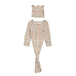 Toby Fairy™ Size 0-3M 2-Piece Striped Gown and Bear Hat Set in Brown