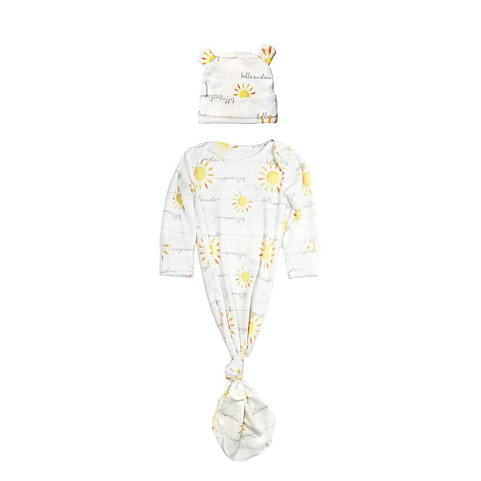 Alternate image 1 for Toby Fairy™ Size 0-3M 2-Piece Hello Sunshine Gown and Bear Hat Set in White