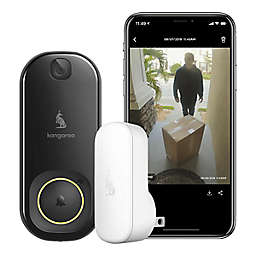 Kangaroo Doorbell Camera + Chime + Porch Protection Plan Security System in Black