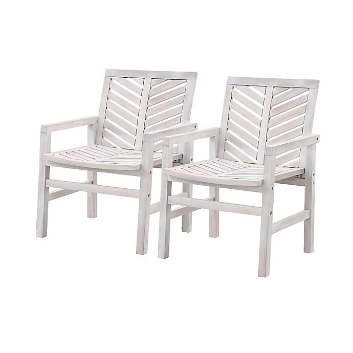 Alternate image 1 for Forest Gate™ Olive Acacia Wood Outdoor Chairs in White Wash (Set of 2)