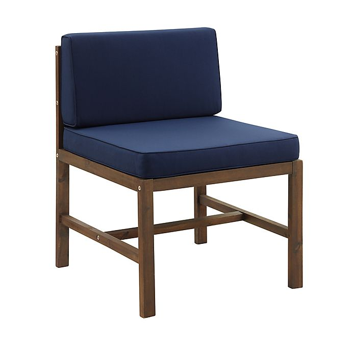 Alternate image 1 for Forest Gate™ Acacia Wood Armless Patio Chair with Cushions in Brown/Navy