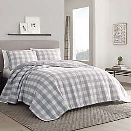 Eddie Bauer® Lakehouse Plaid Reversible Quilt Set in Grey