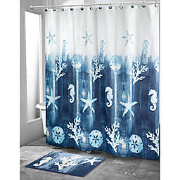 Avanti 72-Inch x 72-Inch Batik Coastal Shower Curtain in Navy
