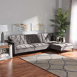Baxton Studio™ Caren Left-Facing Velvet Sectional Sofa in Grey