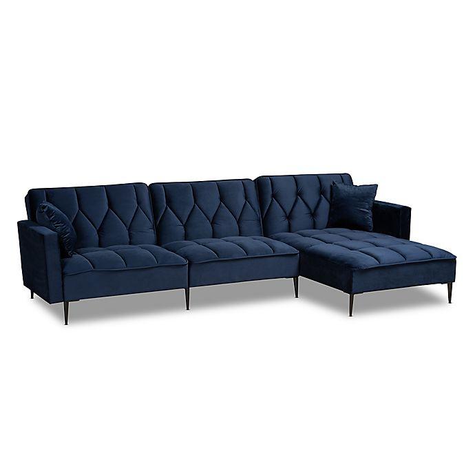 Alternate image 1 for Baxton Studio™ Caren Right-Facing Velvet Sectional Sofa in Navy