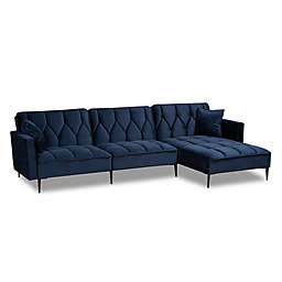 Baxton Studio™ Caren Right-Facing Velvet Sectional Sofa in Navy