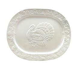 Harvest Turkey 20-Inch Oval Serving Platter in White
