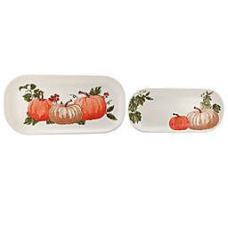 Pumpkin 2-Piece Rectangular Platters in White
