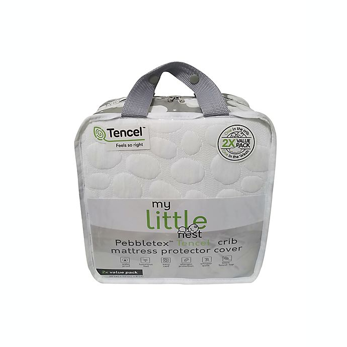 Alternate image 1 for Dreamtex My Little Nest 2-Pack Waterproof Tencel® Lyocell Pebbletex Crib Mattress Pad Covers