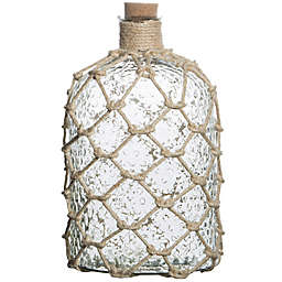 Home Essentials & Beyond 15-Inch Clear Bottle Vase with Jute in White