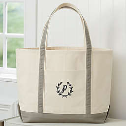 Floral Wreath Embroidered Weekender Tote in Natural/Grey