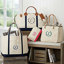Floral Wreath Embroidered Weekender Tote