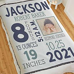 Baby Boy Photo Birth Stats Woven Throw Baby Blanket