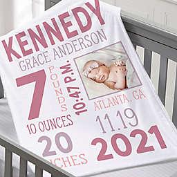 Baby Girl Photo Birth Stats Fleece Baby Blanket