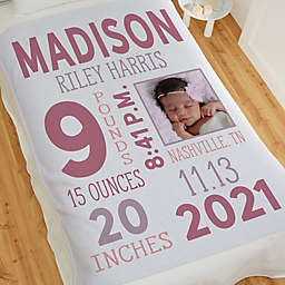 Girl Photo Birth Stats Sweatshirt Baby Blanket
