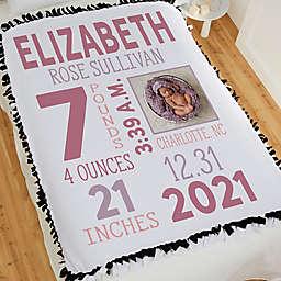 Girl Photo Birth Stats Tie Baby Blanket