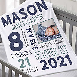 Boy Photo Birth Stats Small Fleece Baby Blanket