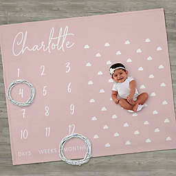 Simple & Sweet Personalized Baby Girl Milestone Fleece Blanket