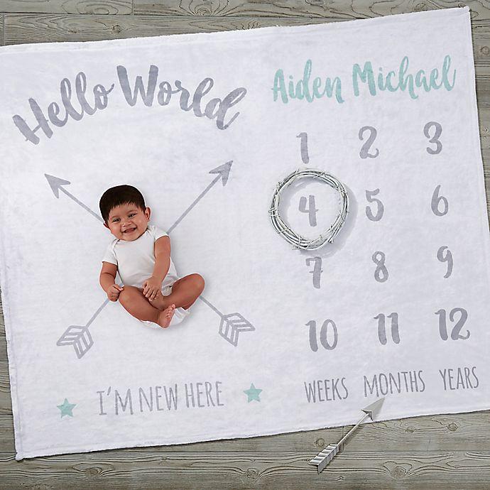 Alternate image 1 for Hello World Monthly Personalized Milestone Baby Plush Fleece Blanket
