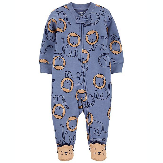 Alternate image 1 for carter's® Lions 2-Way Zip Sleep & Play in Blue/Brown