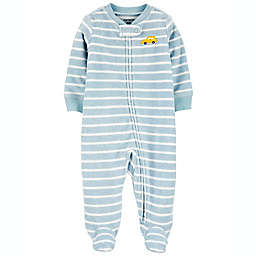 carter's® Size 9M Car Striped Zip-Up Terry Sleep & Play Footie in Grey/Yellow