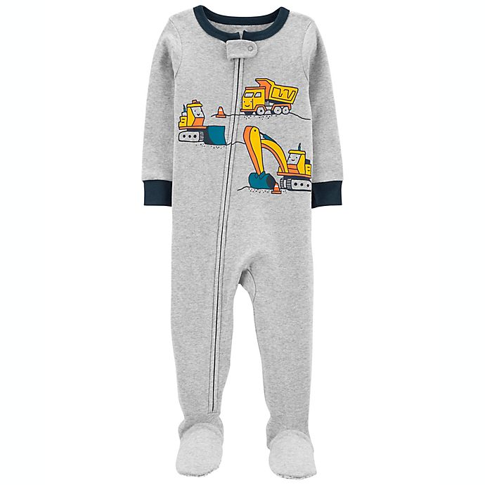 Alternate image 1 for carter's® Size 12M Construction Snug Fit Cotton Footie Pajama in Heather Grey