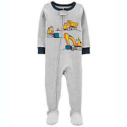 carter's® Size 12M Construction Snug Fit Cotton Footie Pajama in Heather Grey