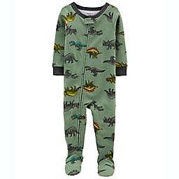 carter's® Dinosaurs Snug Fit Footie Pajama in Green/Navy