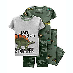 carter's® Size 12M 4-Piece Late Night Dino Snug Fit Cotton Pajama Set in Green