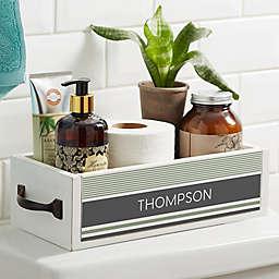 Turkish Stripes Personalized Wood Bathroom Storage Box