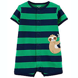 carter's® Sloth Striped Short Sleeve Romper in Navy/Green