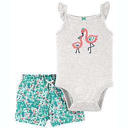 carter's® 2-Piece Flamingo Bodysuit and Short Set in Blue/Grey