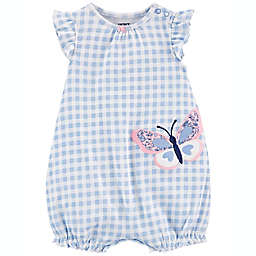 carter's® Butterfly Cotton Romper in Blue/White