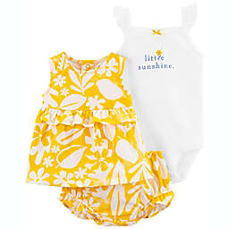 carter's® 3-Piece Little Sunshine Bodysuit, Dress, and Diaper Cover Set in Yellow