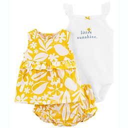 carter's® Newborn 3-Piece Little Sunshine Bodysuit, Dress, and Diaper Cover Set in Yellow