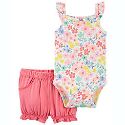 Hudson Baby® 2-Piece Floral Bodysuit and Short Set in Pink