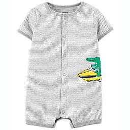 carter's® Snap-Front Alligator Romper in Grey