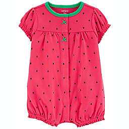 carter's® Strawberry Snap-Front Romper in Coral