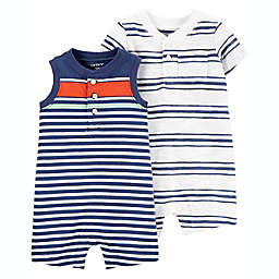 carter's® 2-Pack Striped Rompers in Navy