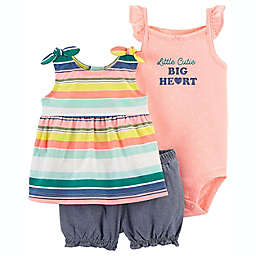carter's® 3-Piece Striped Little Cutie Bodysuit, Top, and Short Set