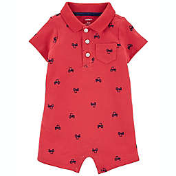 carter's® Truck Short Sleeve Polo Romper in Red