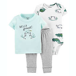 carter's® 3-Piece Little Character Hippo Bodysuit and Pant Set in Blue