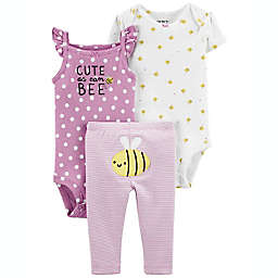 carter's® 3-Piece Bee Little Character Bodysuits & Pants Set in Lilac