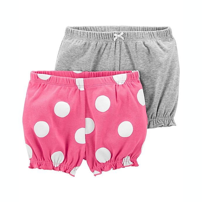 Alternate image 1 for carter's® Size 3M 2-Pack Bubble Shorts in Grey/Pink